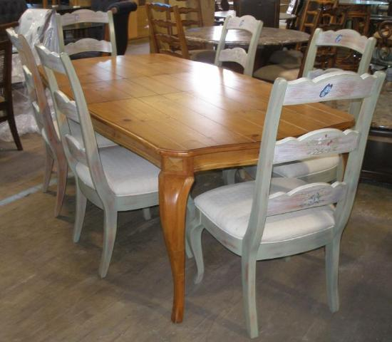 Thomasville Furniture Bridgehampton Dining Table Hand Painted Chairs Set