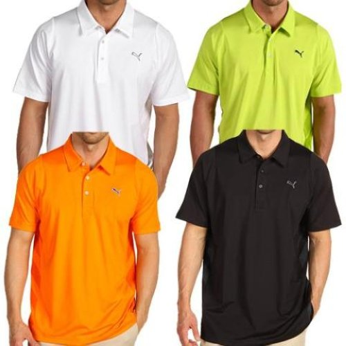New-Puma-Duo-Swing-Mesh-Polo-Shirt-4-colors-Orange-White-Black-Lime
