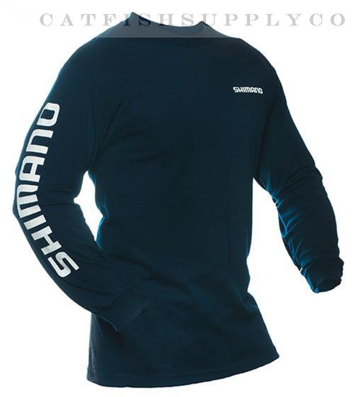 Shimano long sleeve cotton tee shirt medium xxxlarge white for Shimano fishing shirts