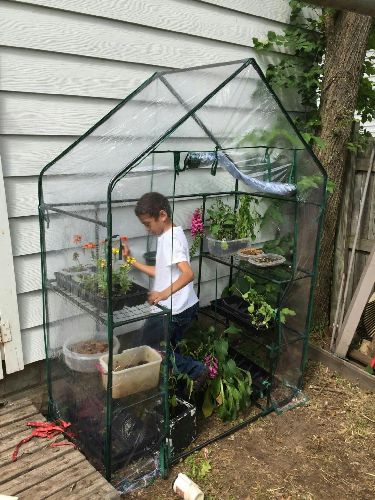 Portable Hot House : Peaktop shelves portable mini greenhouse green grow hot