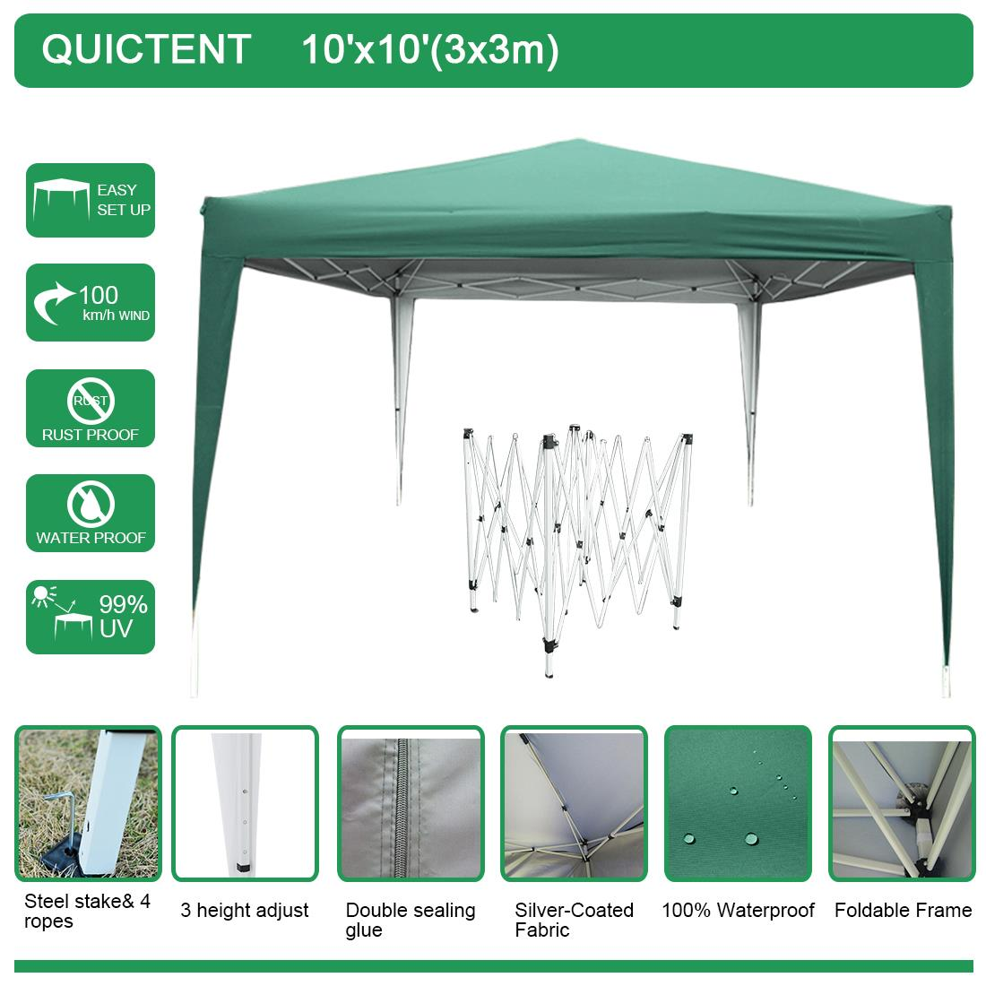 Quictent 10x10 EZ Pop Up Canopy Folding Gazebo Tent Sun ...