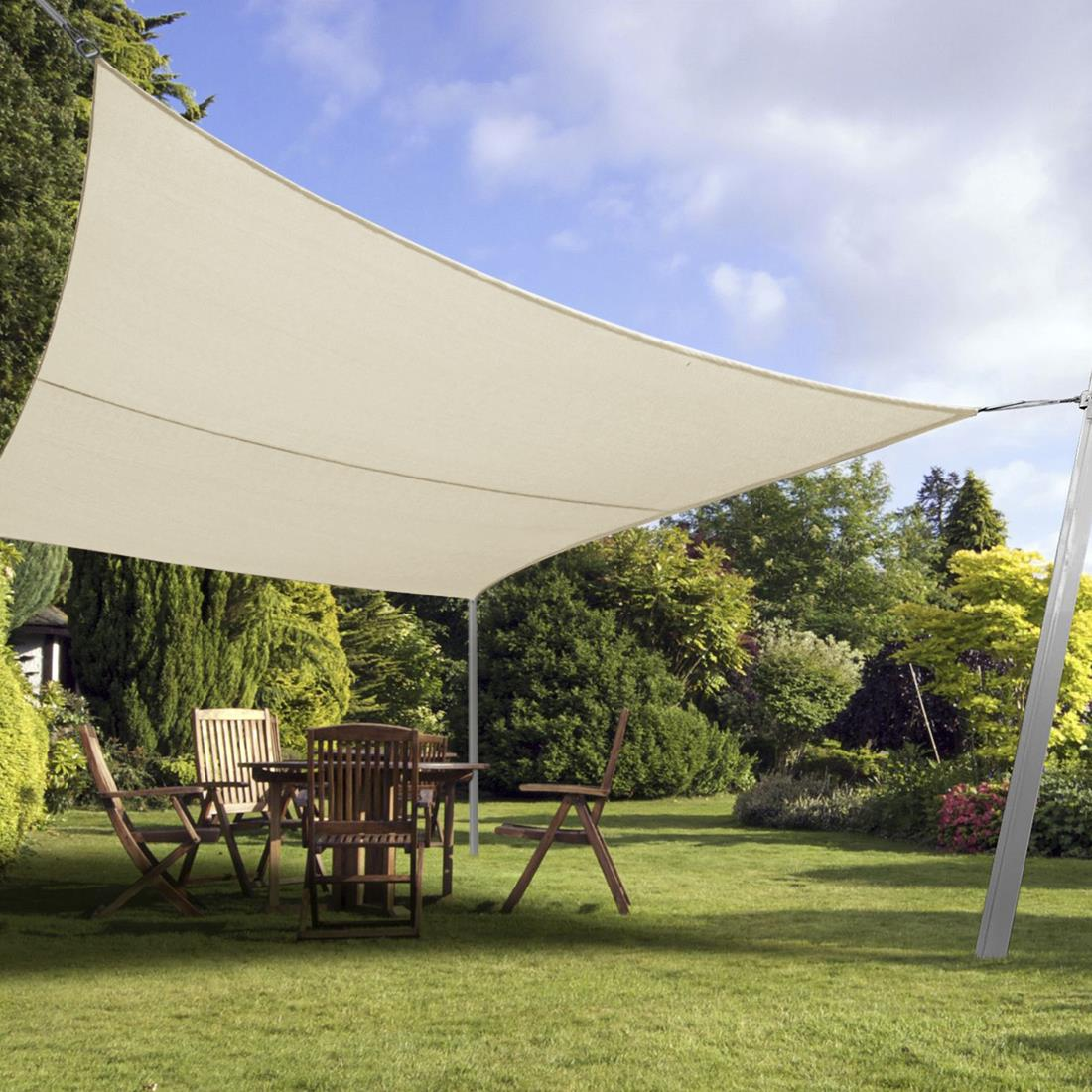 quictent 24 x 24 ft square sun shade sail outdoor patio pool top